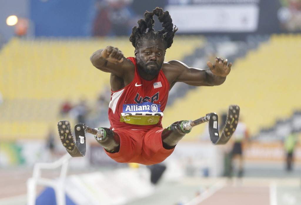 American's Regas Woods competing at the 2015 IPC Athletics World Championships in Doha