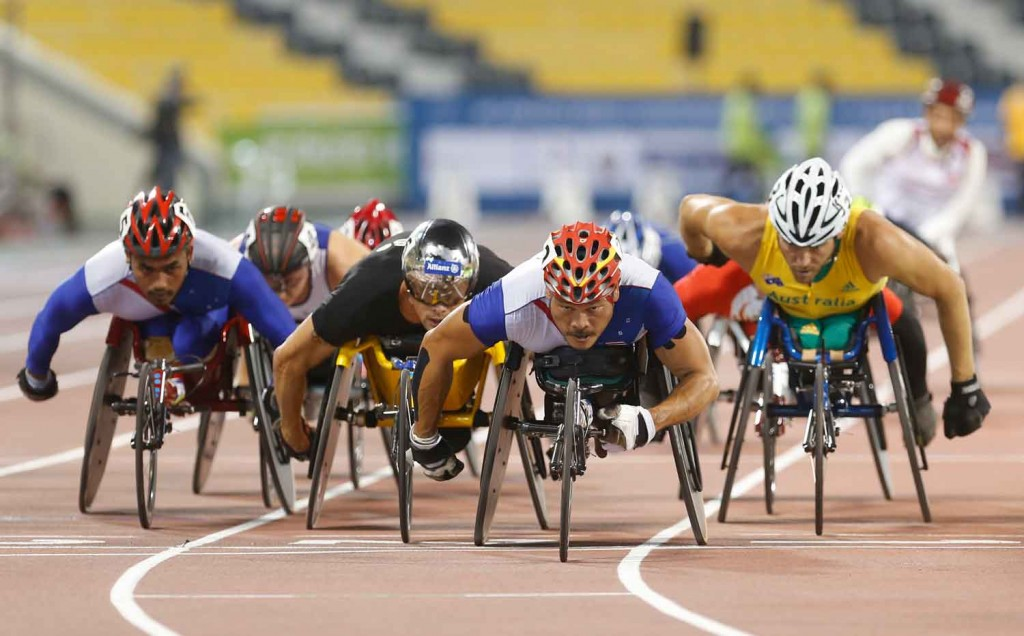 Rawat Tana of Thailand in action on his way to victory in the men's 5000m T54 final during the Evening Session on Day Five of the IPC Athletics World Championships