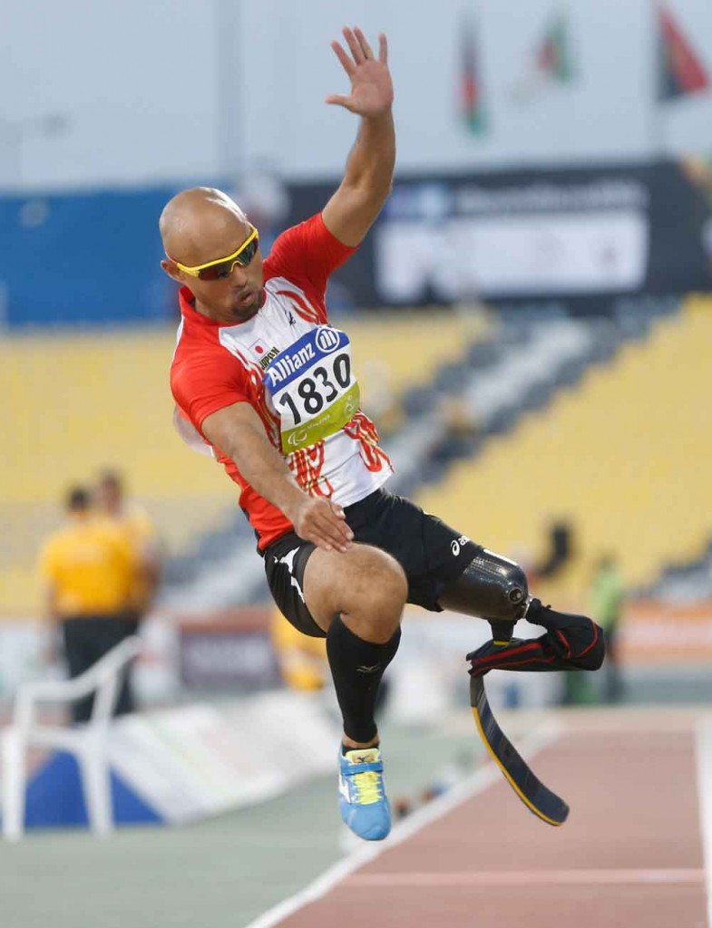 Atsushi Yamamoto of Japan competes on his way to winning the men's long jump T42 final during the Evening Session on Day Five of the IPC Athletics World Championships