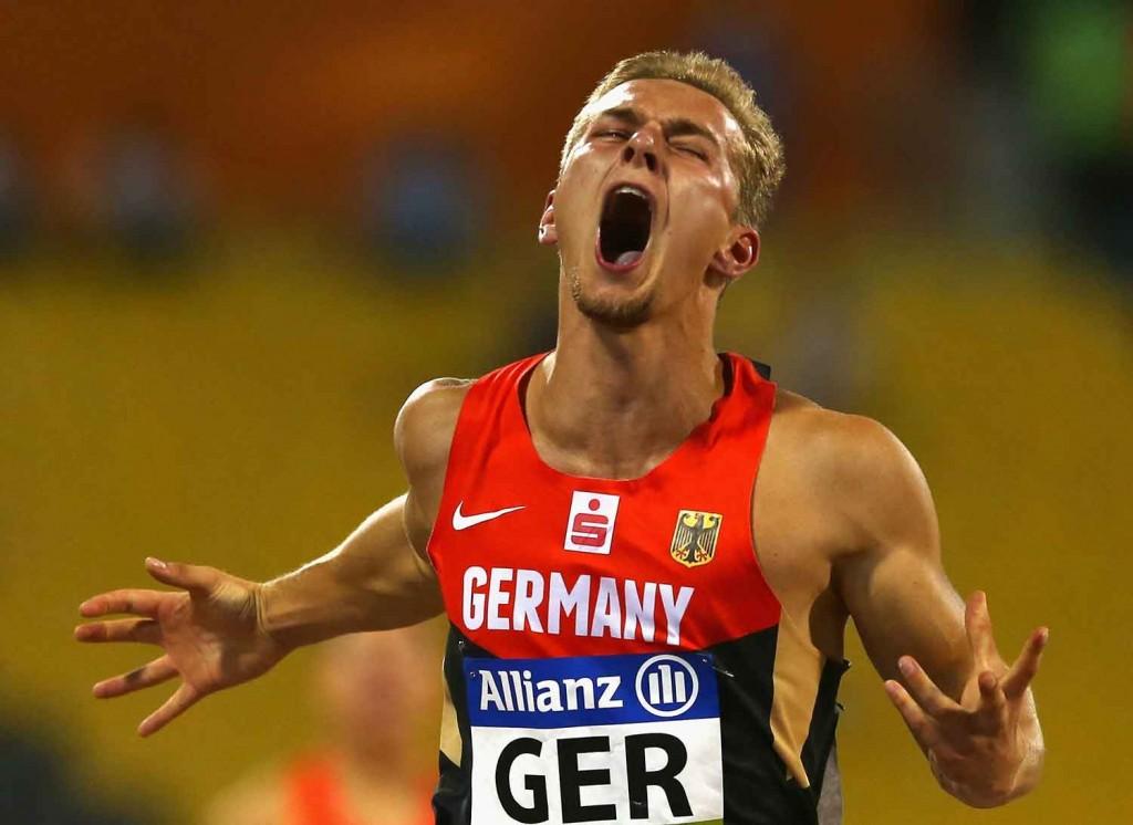 Johannes Floors of Germany celebrates winning the men's 4x100m T42-47 final